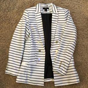 H&M dark navy and white stripe blazer!